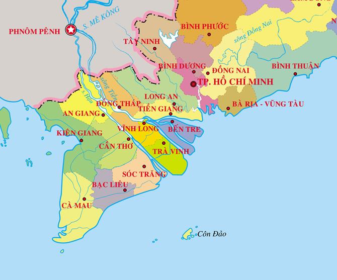 Bản đồ các tỉnh thành miền Nam
